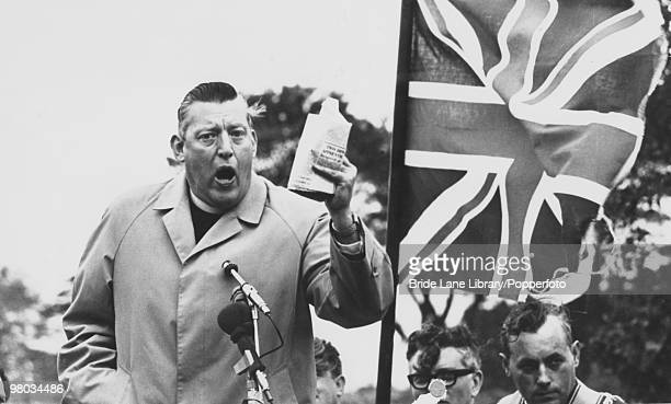 Northern Irish religious and political leader Ian Paisley addressing a meeting in Belfast Northern Ireland 17th April 1972 Paisley is Moderator of...