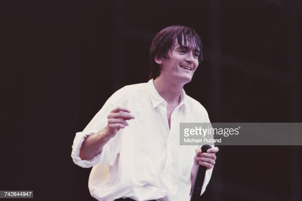 Northern Irish singer Feargal Sharkey former lead vocalist with The Undertones performs live on stage during his solo career circa 1985