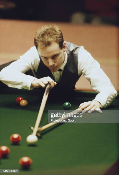 Northern Irish snooker player Joe O'Boye pictured in action during competition in the 1989 Embassy World Snooker Championship at the Crucible Theatre...