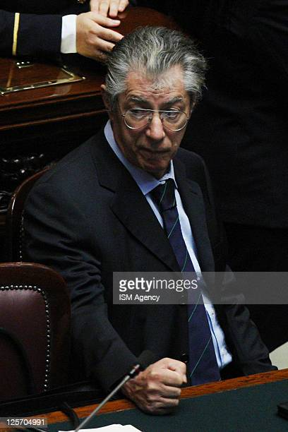 Northern League leader Umberto Bossi attends a vote at the Italian Chamber of Deputies on September 14 2011 in Rome Italy Silvio Berlusconi's...