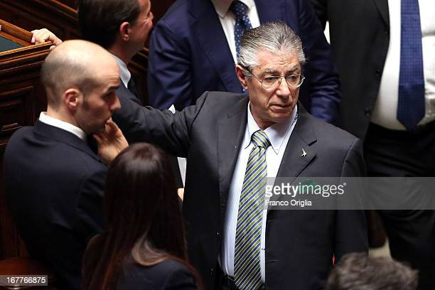 Northern League leader Umberto Bossi attends the confidence vote at the Chamber of Deputies on April 29 2013 in Rome Italy The new coalition...