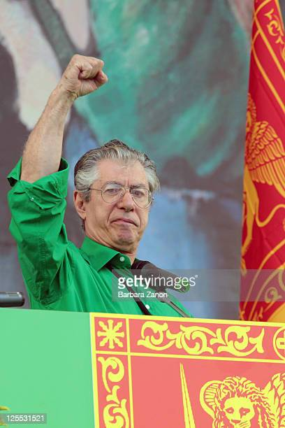 Northern League leader Umberto Bossi delivers a speech during the Lega Nord Annual Party on September 18 2011 in Venice Italy The Northern League...