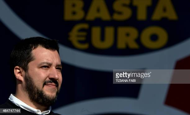 Northern League party leader Matteo Salvini helds a rally in Rome February 28 2015 The leader of Italy's rightwing Lega Nord party Matteo Salvini...