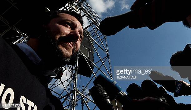 Northern League party leader Matteo Salvini speaks during a rally in Rome February 28 2015 The leader of Italy's rightwing Lega Nord party Matteo...