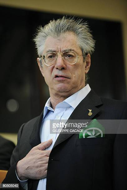 Northern League party leader Umberto Bossi holds an election rally on April 3 2008 in Milan Italy's conservative leader Silvio Berlusconi said on...