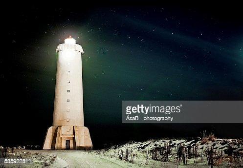 Northern light house : Stock Photo