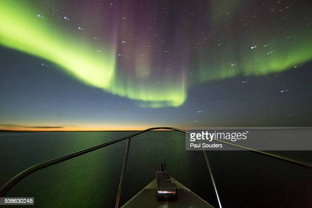 Northern Lights above Expedition Boat, Canada