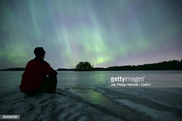 Northern Lights Above Frozen Lake
