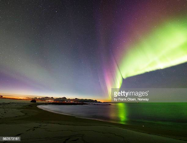 Northern Lights and sunset