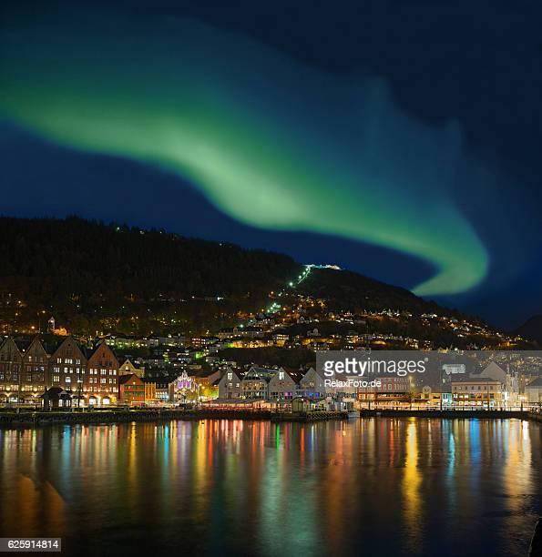 Northern lights - Green Aurora Borealis over Bergen, Norway