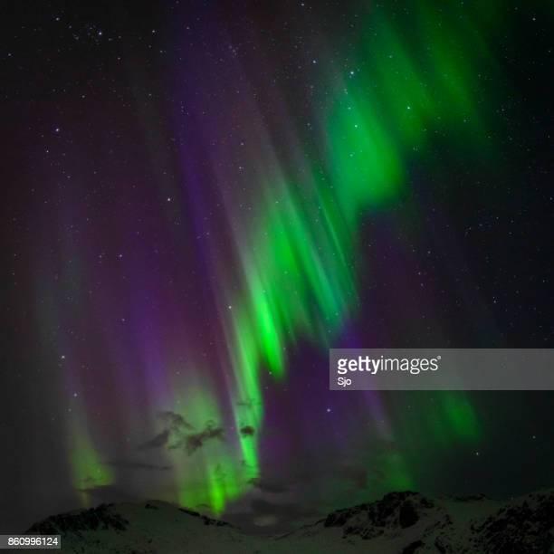 Noorderlicht in de nachtelijke hemel over de eilanden van de Lofoten in Noorwegen