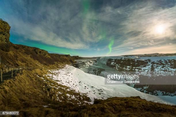 Northern lights over Gullfoss