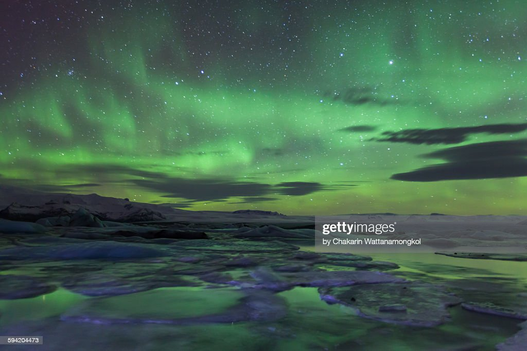 Northern Lights over Jokulsarlon