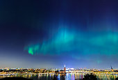 Northern lights over Stockholm city