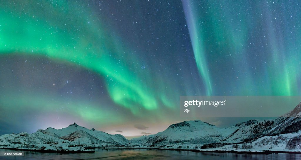 Northern Lights over the Lofoten Islands in Norway : Stock Photo