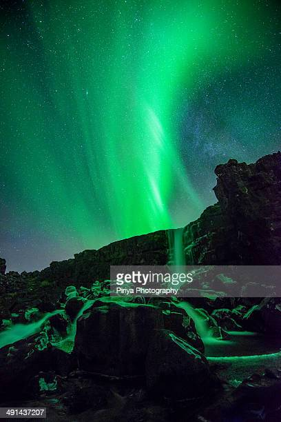 Northern Lights over waterfalls