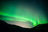 Aurora borealis in the sky