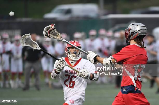 Northern midfielder Colten King passes the ball against Glenelg midfielder Kyle Dry during the Maryland State 3A/2A lacrosse championship game on May...