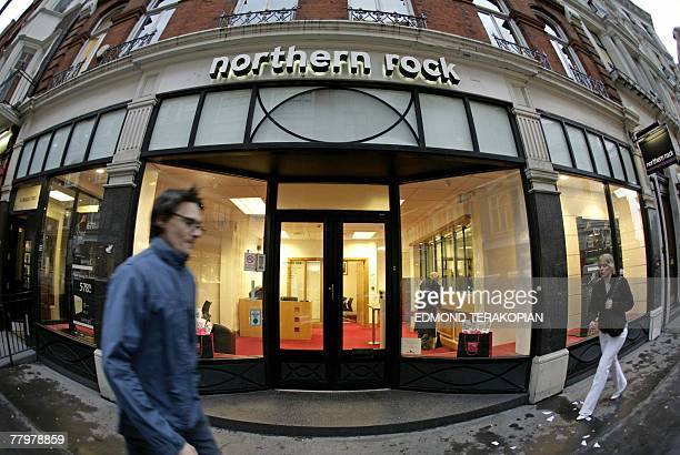 A Northern Rock bank branch is pictured in central London 19 November 2007 The share price of Northern Rock tumbled by more than a fifth on Monday...