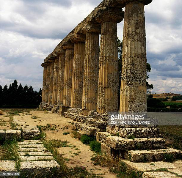Northern side of the Temple of Hera or Palatine Tables in Doric style 6th century BC archaeological area of Metapontum fraction of Bernalda...