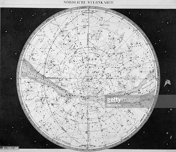 Northern star chart The celestial sphere with zodiac figures Undated engraving