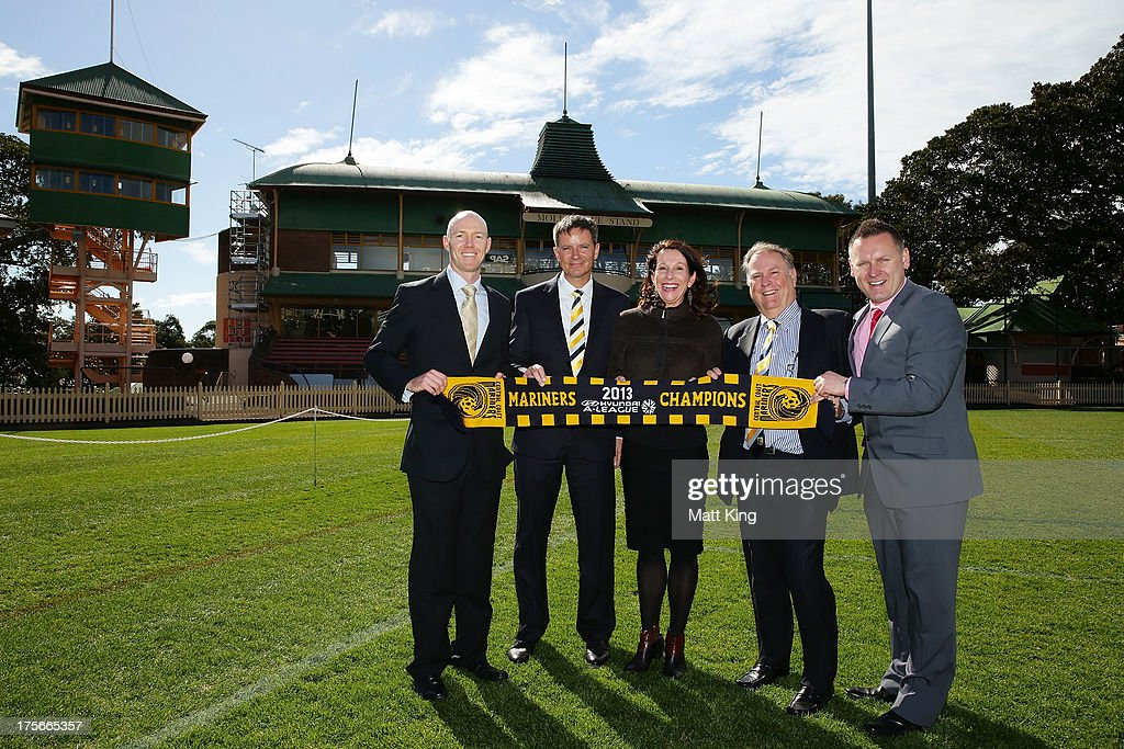 Northern Suburbs Football Association CEO Duncan Tweed, Central Coast Mariners owner Mike Charlesworth, North Sydney Mayor Jilly Gibson, Central Coast Mariners Chairman & Group General Manager Peter Turnbull and A-League CEO Damien De Bohun pose during a Central Coast Mariners A-League media announcement at North Sydney Oval on August 6, 2013 in Sydney, Australia.
