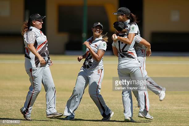 Northern Territory players celebrate the wicket of Ashleigh Gardner during the National Indigenous Cricket Championships Women's Final on February 15...