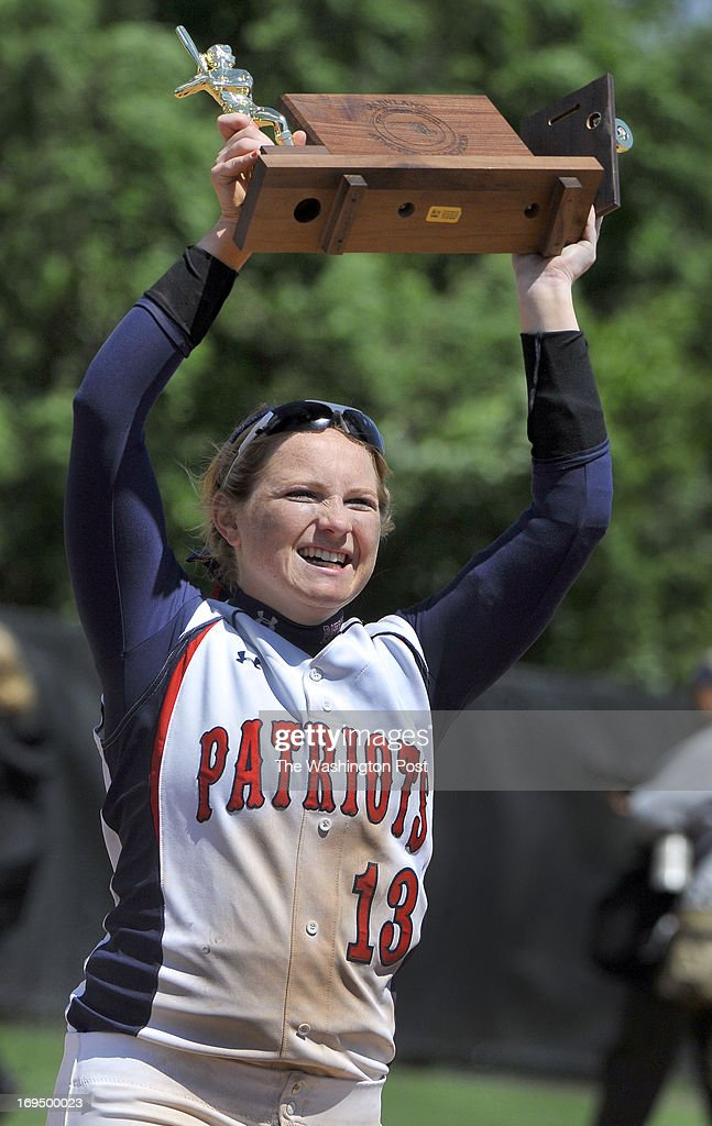 Northern's Carleigh Ruleman waved the Maryland 3A championship trophy to the Northern fans as she carried it back to the dugout at the University of Maryland's Robert E. Taylor Stadium on May, 25, 2013 in College Park, Md.