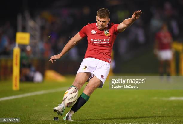 Northland New Zealand 3 June 2017 Owen Farrell of the British Irish Lions kicks a conversion during the match between the New Zealand Provincial...