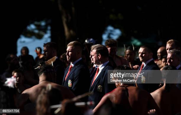 Northland New Zealand 4 June 2017 Ross Moriarty of the British Irish Lions during a Maori welcome at the Waitangi Treaty Grounds in Waitangi New...