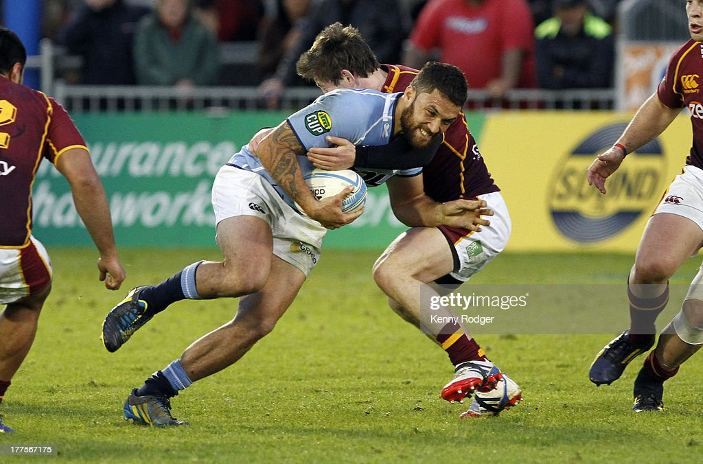 Northland player Derek Carpenter attacks the Southland line during the round two ITM Cup match between Northland and Southland at Toll Stadium on...