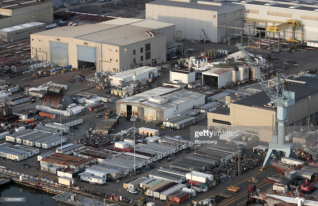 A Northrop Grumman Shipbuilding facility sits along the James River in Newport News Virginia US in this aerial photo taken on Tuesday Nov 2 2010...