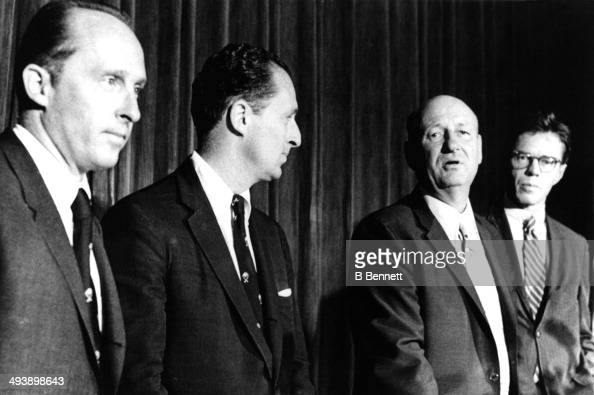 Northrup Knox Semour Knox Buffalo Sabres general manager George 'Punch' Imlach and attorney Walter Beckjord talk about the new AHL franchise...