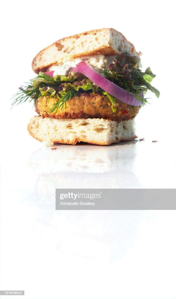 Northwest Crabcake Hamburger : Stock Photo