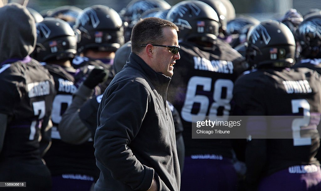 Northwestern coach Pat Fitzgerald works the sideline in the fourth quarter against Illinois at Ryan Field in Evanston, Illinois, on Saturday, November 24, 2012. Northwestern routed Illinois, 50-14.