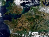 'Much of northwestern Europe is shown in this true-color Aqua MODIS image from September 13, 2002. From upper left are Ireland, England, France, Belgium, the Netherlands, Germany, Denmark, Austria, an