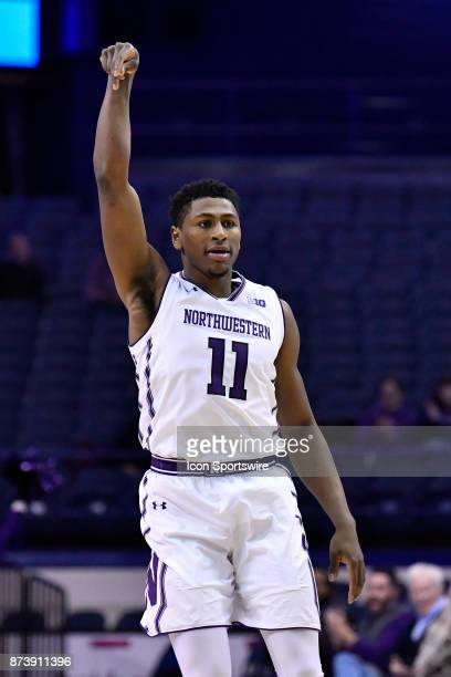 Northwestern Wildcats guard Anthony Gaines reacts after making a three point basket during a college basketball game between Northwestern Wildcats...