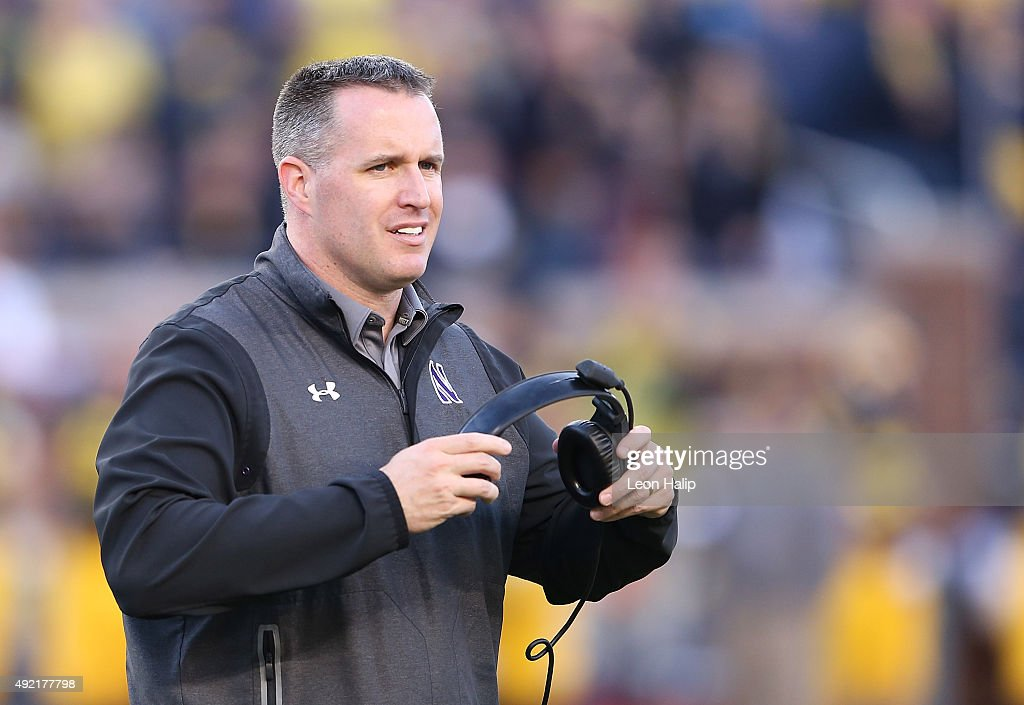 Northwestern Wildcats head coach <a gi-track='captionPersonalityLinkClicked' href=/galleries/search?phrase=Pat+Fitzgerald&family=editorial&specificpeople=877167 ng-click='$event.stopPropagation()'>Pat Fitzgerald</a> watches the action during the game against the Michigan Wolverines on October 10, 2015 at Michigan Stadium in Ann Arbor, Michigan. The Wolverines defeated the Wildcats 38-0.