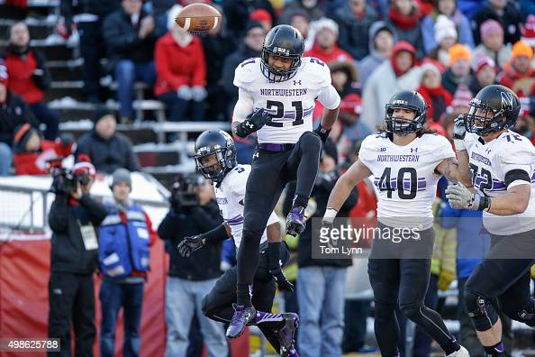 Northwestern Wildcats Justin Jackson reacts to his touchdown against the Wisconsin Badgers on November 21 2015 at Camp Randall Stadium in Madison...