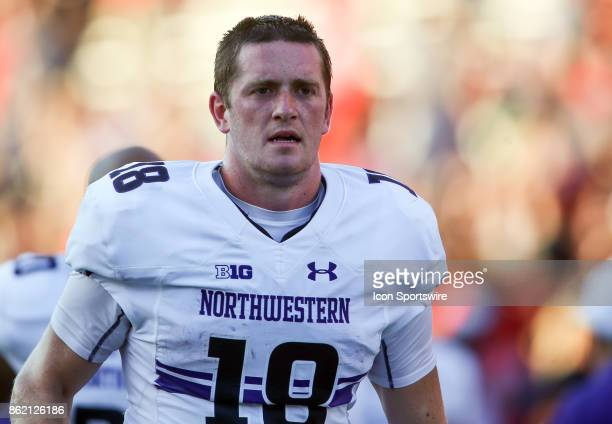 Northwestern Wildcats quarterback Clayton Thorson leaves the field at halftime during a college football game between the Maryland Terrapins and the...