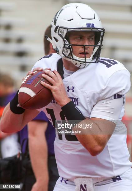 Northwestern Wildcats quarterback Clayton Thorson warms up before a college football game between the Maryland Terrapins and the Northwestern...
