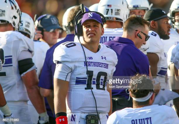 Northwestern Wildcats quarterback TJ Green at a timeout during a college football game between the Maryland Terrapins and the Northwestern Wildcats...