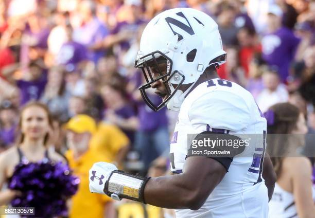 Northwestern Wildcats safety Godwin Igwebuike during a college football game between the Maryland Terrapins and the Northwestern Wildcats on October...