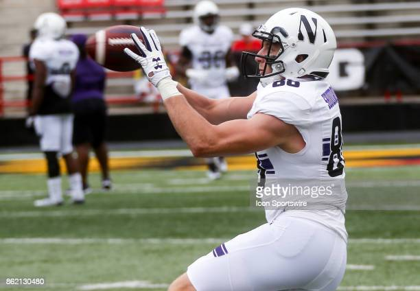 Northwestern Wildcats wide receiver Bennett Skowronek warms up before a college football game between the Maryland Terrapins and the Northwestern...