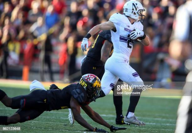 Northwestern Wildcats wide receiver Flynn Nagel gets away from a Maryland defender during a college football game between the Maryland Terrapins and...