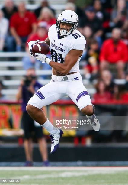 Northwestern Wildcats wide receiver Ramaud ChiaokhiaoBowman leaps high to catch the ball during a college football game between the Maryland...