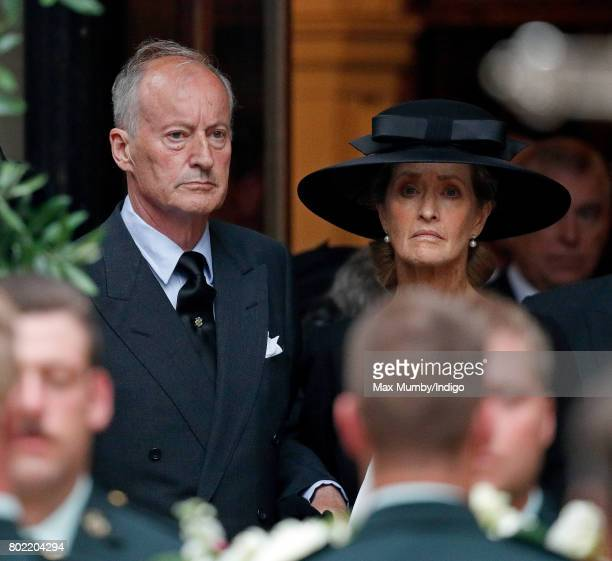 Norton Knatchbull Earl Mountbatten of Burma accompanied by his wife Penny Countess Mountbatten of Burma attends the funeral of his mother Patricia...