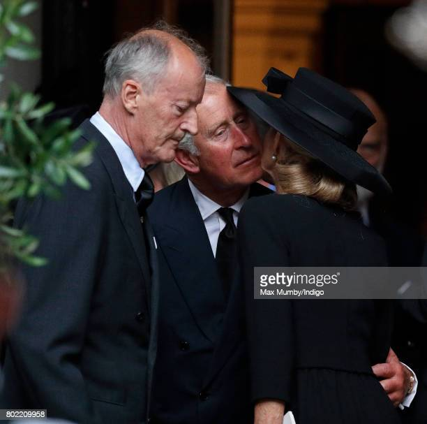 Norton Knatchbull Earl Mountbatten of Burma Prince Charles Prince of Wales and Penny Countess Mountbatten of Burma attend the funeral of Patricia...