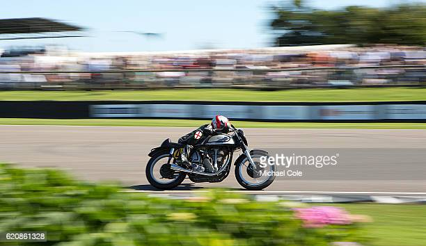 Norton Manx entered by Seb Perez and ridden by Seb Perez Scott Smart in the Barry Sheene Memorial Trophy race at Goodwood on September 11 2016 in...