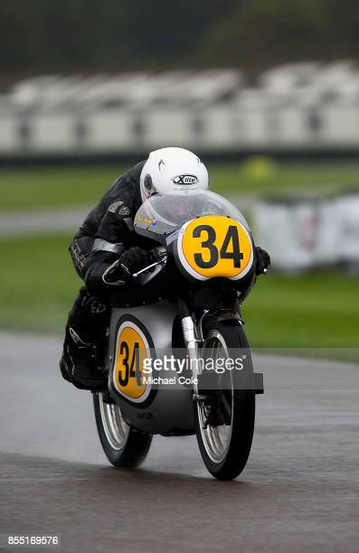 Norton Manx entrant Peter Bloore ridden by Dean Stimpson in the Barry Sheene Memorial Trophy at Goodwood on September 8th 2017 in Chichester England